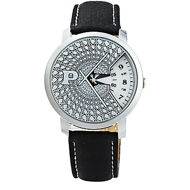 Bărbați Ceas Elegant Ceas La Modă Quartz Piele Bandă Negru Negru Argintiu