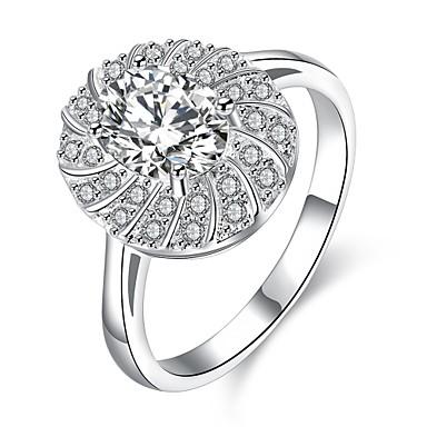 عصابة يوميا فضفاض مجوهرات زركون نحاس تصفيح بطلاء الفضة خاتم 1PC,7 فضة