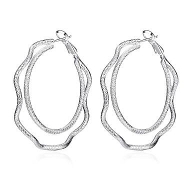 Χωρίς Πετράδι Κρίκοι Κοσμήματα Γυναικεία Καθημερινά Causal Χαλκός Επάργυρο 1 ζευγάρι Ασημί