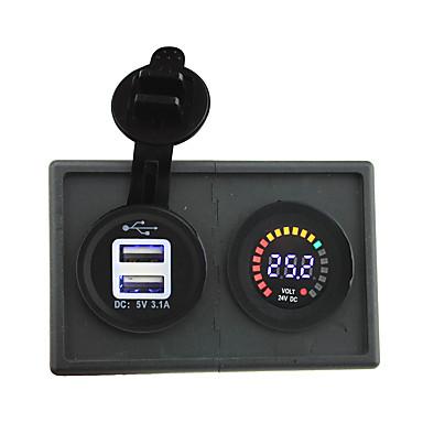 قاد 24V العرض الرقمي الفولتميتر والإضافية 3.1a محول USB مع لوحة حامل السكن للقارب سيارة شاحنة رف