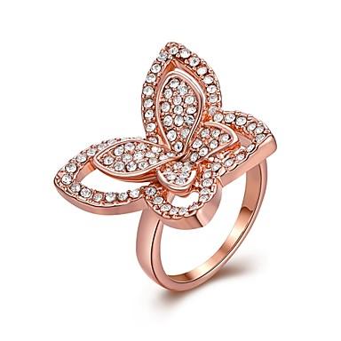 عصابة يوميا فضفاض مجوهرات سبيكة زركون مطلي بذهب وردي خاتم 1PC,8 ذهبي روزي