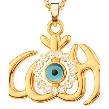 Męskie Damskie Naszyjniki z wisiorkami Rhinestone Heart Shape Złe oko Miedź Kryształ górski Pozłacane Imitacja diamentu Modny Biżuteria Na