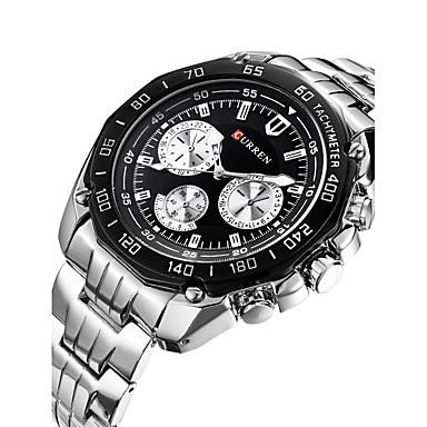 זול שעוני גברים-בגדי ריקוד גברים שעוני ספורט שעון יד קווארץ צבעוני 30 m לוח שנה מעצבים שְׁוֵיצָרִי אנלוגי קסם קלסי יום יומי אופנתי שעוני שמלה - לבן שחור / מתכת אל חלד