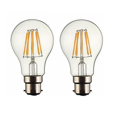 ONDENN 2pcs 5W 500-600 lm B22 Bec Filet LED G60 6 led-uri COB Intensitate Luminoasă Reglabilă Alb Cald AC 220-240 AC 110 - 130 V
