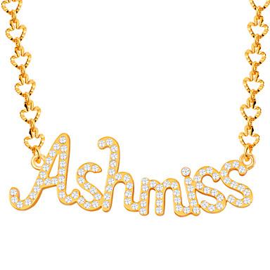 Bărbați Dame Coliere cu Pandativ Cristal Ștras imitație de diamant Alphabet Shape Ștras Placat Auriu La modă Inspirațional Bijuterii