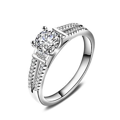 Pierścionek zaręczynowy Pierscionek Band Ring White Cyrkon Srebrny Ślub Impreza Specjalne okazje Codzienny Casual Biżuteria kostiumowa