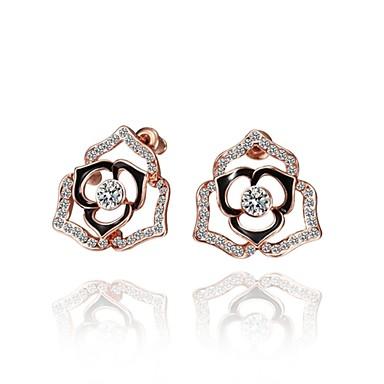 Cubic Zirconia Κουμπωτά Σκουλαρίκια Κοσμήματα Γυναικεία Καθημερινά Causal Κράμα Ζιρκονίτης Επάργυρο Επιχρυσωμένο Με Επίστρωση Ροζ Χρυσού1