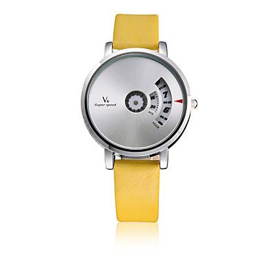 V6 Erkek Moda Saat Quartz / Deri Bant Günlük Siyah Beyaz Kırmızı Sarı
