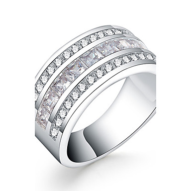 Γυναικεία Δαχτυλίδι - Ζιρκονίτης, Cubic Zirconia, Επάργυρο Πολυτέλεια 7 / 8 Ασημί Για Καθημερινά / Causal
