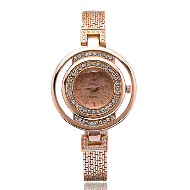 Modny Sztuczny Diamant Zegarek Kwarcowy Stop Pasmo Srebro Złoty Różowe złoto