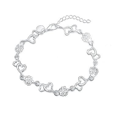 Damskie Bransoletki z breloczkami - Posrebrzany Róże, Serce, Kwiat Modny Bransoletki Silver Na Prezent