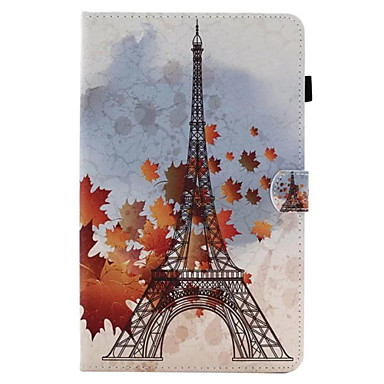 Etui Käyttötarkoitus Samsung Galaxy Tab 9.7 Tab 8.0 Korttikotelo Tuella Flip Kuvio Suojakuori Eiffel-torni Kova PU-nahka varten Tab E 9.6