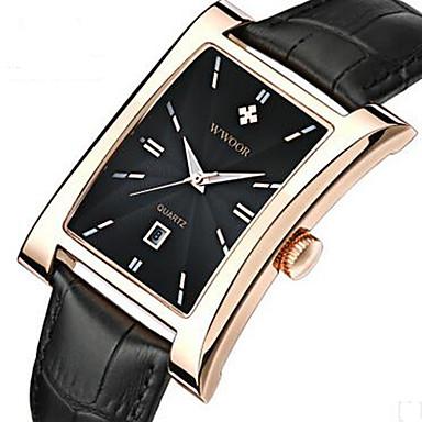 WWOOR Bărbați Ceas Elegant Ceas La Modă Ceas de Mână Quartz Calendar Piele Bandă Casual Cool Negru Maro