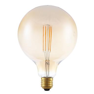 E26/E27 LED-hehkulamput G125 4 COB 550 lm Amber Himmennettävissä Koristeltu AC 220-240 V 1 kpl