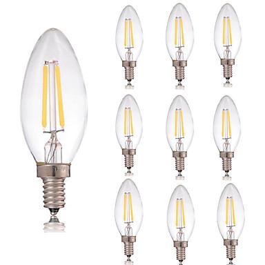 E14 مصابيحLED C35 2 COB 180 lm أبيض دافئ أبيض كول ديكور AC 220-240 V 10 قطع