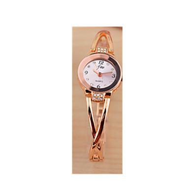 Kadın's Bilezik Saat Sahte Elmas Saat Quartz / Gül Rengi Altın Kaplama Paslanmaz Çelik Bant Pembe