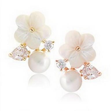 نساء أقراط الزر لؤلؤ الطبيعة موضة اللؤلؤ فضة الاسترليني قشرة Flower Shape أقحوان مجوهرات من أجل يوميا