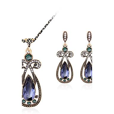 مجموعة مجوهرات - حجر الراين, مطلية بالذهب, تقليد الماس ترف, قديم, بوهيميان تتضمن أحمر / أخضر / أزرق من أجل حزب / مناسبة خاصة