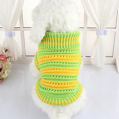 Σκύλος Πουλόβερ Ρούχα για σκύλους Χαριτωμένο Καθημερινά Ριγέ Πράσινο