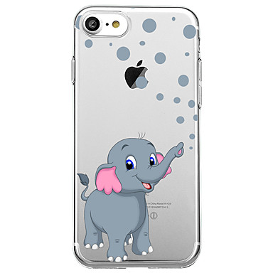 voordelige iPhone 6 hoesjes-hoesje Voor Apple iPhone X / iPhone 8 Plus / iPhone 8 Ultradun / Transparant / Patroon Achterkant dier / Olifant Zacht Kumi