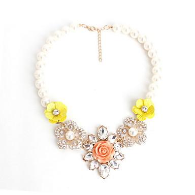 Damskie Oświadczenie Naszyjniki Biżuteria Flower Shape Biżuteria Kamień szlachetny Perłowy Imitacja diamentu StopModny Osobiste