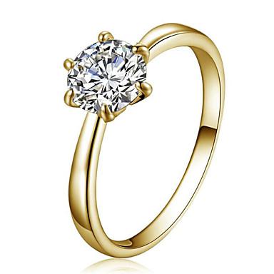 Δαχτυλίδι Κρυστάλλινο Κρύσταλλο Ζιρκονίτης Cubic Zirconia απομίμηση διαμαντιών Κράμα Star Shape μινιμαλιστικό στυλ Μοντέρνα Χρυσό