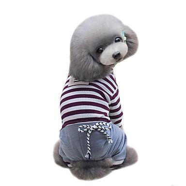 Köpek Tişört Tulumlar Köpek Giyimi Klasik Moda Sporlar Çizgi Kahverengi Mavi Kostüm Evcil hayvanlar için