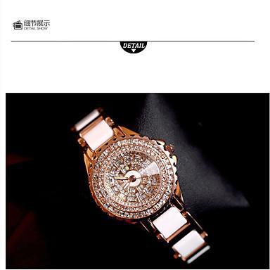 Kadın's Moda Saat Sahte Elmas Saat Kol Saatleri Quartz Alaşım Bant İhtişam Günlük Lüks Beyaz