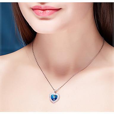 Uçlu Kolyeler Kristal Heart Shape Kristal Sallantılı Stil Temel Aşk Mücevher Uyumluluk Günlük