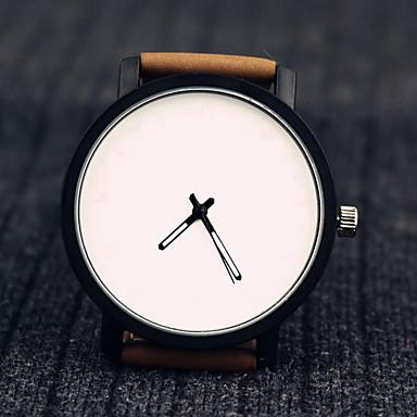 Erkek Moda Saat Bilek Saati Gündelik Saatler Quartz Deri Bant Yaratıcı Havalı Minimalist Siyah Kahverengi