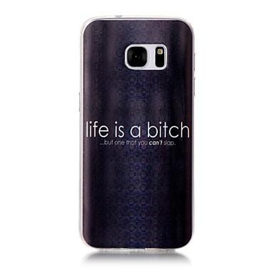 Maska Pentru Samsung Galaxy S7 edge S7 Model Carcasă Spate Cuvânt / expresie Moale TPU pentru S7 edge S7