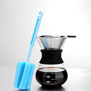 ml Ruostumaton teräs Lasi Kahvinkeitinsetti , 3 kuppia Keittää kahvia valmistaja Uudelleenkäytettävä kanssa puhdistusharja