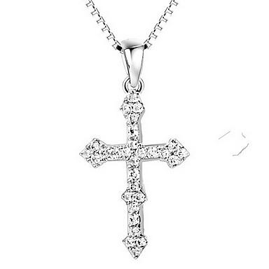 Kolye Uçları Cross Shape Som Gümüş Simüle Elmas Lüks Çapraz Mücevher Uyumluluk Günlük