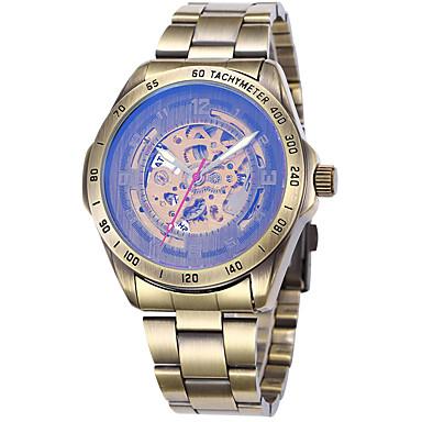 levne Pánské-Pánské Sportovní hodinky Hodinky s lebkou Vojenské hodinky Automatické natahování Nerez Pravá kůže Černá / Modrá / Stříbro 50 m Cool Punk Analogové Luxus Vintage Na běžné nošení maskování - Hněd