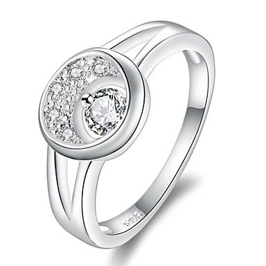 خاتم فضي زركون نحاس تصفيح بطلاء الفضة يوميا فضفاض مجوهرات