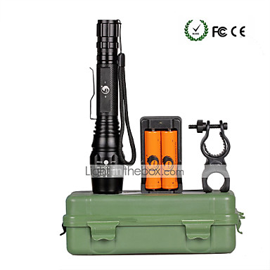 U'King LED Flashlights LED 2000 lm 5 طريقة Cree XM-L T6 مع البطاريات والشاحن زوومابلي Adjustable Focus Camping/Hiking/Caving Everyday Use