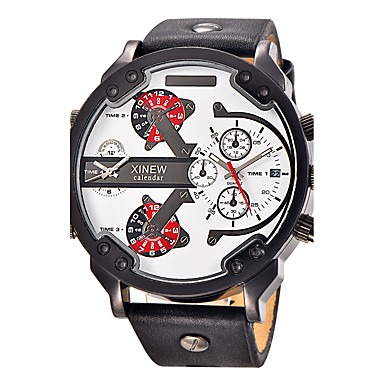 levne Pánské-Pánské Sportovní hodinky Vojenské hodinky Náramkové hodinky Křemenný Velkoformátové Kůže Černá / Modrá / Hnědá Kalendář Hodinky s dvojitým časem Cool Analogové Přívěšky Vintage Na běžné nošení Módní