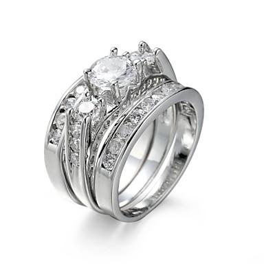 Kadın's Yüzük Nişan yüzüğü Takı Seti Kübik Zirconia Sentetik Pırlanta Zarif Avrupa Zirkon Kübik Zirconia Çelik Mücevher Düğün Yıldönümü