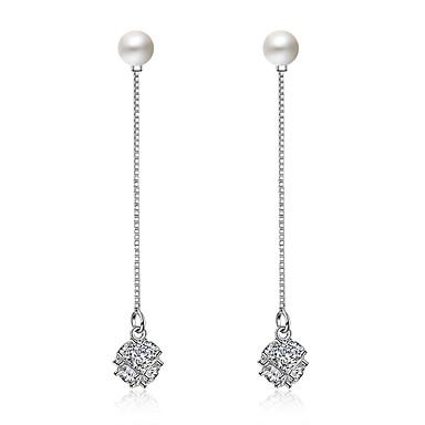 Γυναικεία Κρεμαστά Σκουλαρίκια Απομίμηση Μαργαριτάρι Βασικό Απομίμηση Μαργαριταριού Ζιρκονίτης Line Shape Κοσμήματα ΓιαΓάμου Πάρτι