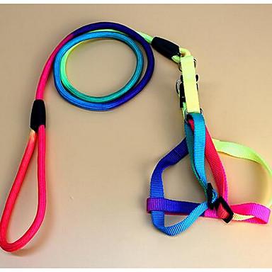 Câini Hamuri Lese Ajustabile/Retractabil Curcubeu Nylon Multicolor