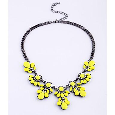 Damskie Pasemka Naszyjniki Flower Shape Modny Osobiste Yellow Różowy Light Green Biżuteria Na Codzienny Casual 1szt