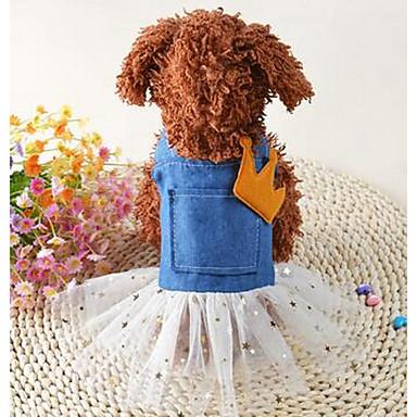 Pies Suknie Ubrania dla psów Urocza Codzienne Kwiat Niebieski Kostium Dla zwierząt domowych