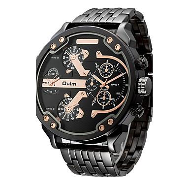 levne Pánské-Oulm Pánské Sportovní hodinky Vojenské hodinky Náramkové hodinky Nerez Černá / Růžové zlato 30 m Voděodolné Hodinky s dvojitým časem Cool Analogové Luxus Vintage Na běžné nošení Skládaný Módní - / #