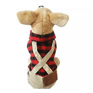 Câine Tricou Îmbrăcăminte Câini Tartan/Carouri Rosu Bumbac Costume Pentru animale de companie Bărbați Pentru femei Draguț Casul/Zilnic