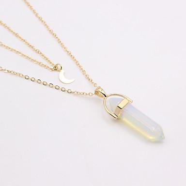 705785997b7a abordables Collares-Mujer Turquesa Piedra Doble Collares con colgantes MOON  damas Diseño Único Estilo Simple