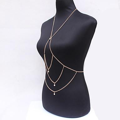 Kadın Vücut Mücevheri Vücut Zinciri / Belly Chain Moda Eski Tip Bohemia Stili Değerli Taş alaşım Altın Mücevher Için Özel Anlar Günlük 1pc
