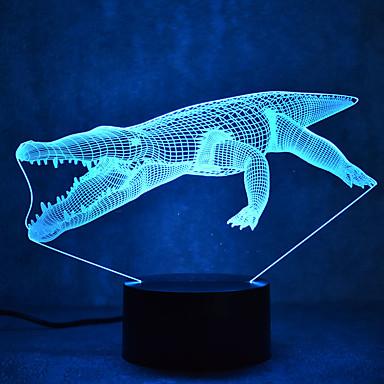 crocodil atingere diminuare 3d condus noapte lumina 7colorful decorare atmosferă lampă noutate iluminat lumina