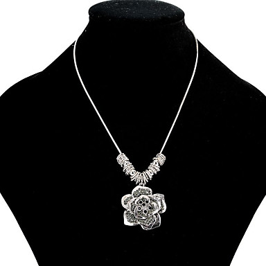 Damskie Kwiat Kwiatowy Kwiat Kwiaty Naszyjniki z wisiorkami Rhinestone Kryształ górski Posrebrzany Pozłacane Stop Naszyjniki z wisiorkami