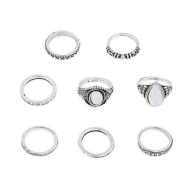 خواتم ميدي سبيكة Round Shape euramerican في أبيض مجوهرات زفاف حزب مناسبة خاصة يوميا فضفاض 1SET