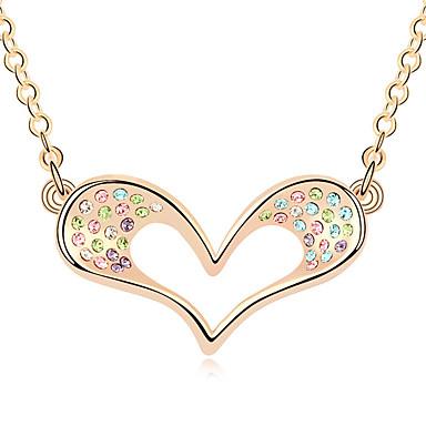 للمرأة قلائد الحلي كريستال Heart Shape كروم حب مجوهرات من أجل الذكرى السنوية تهاني هدية